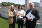 Luigi Alberti, Giovanna Prandini, Alessandro Luzzago durante la presentazione di Italia in Rosa